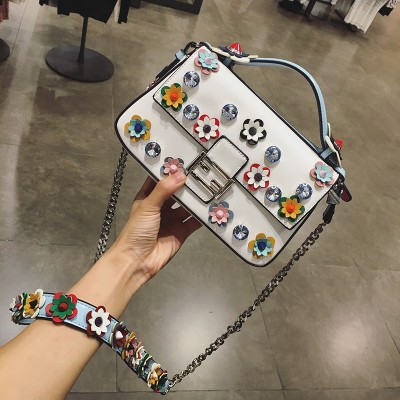 2017  fashion baguettle women messenger bags handbag crossbody female shoulder bag flower satchel diamond flowers bolsa