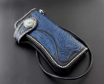 Blue Genuine Leather Handmade Tooled Biker Rocker Wallet with Chain
