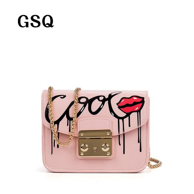Sexy Bag High Quality Leather Women Messenger Bag Famous Brand Luxury Leather Bags Hot Fashion Sequined Hasp Style Sexy Lip Women Bag