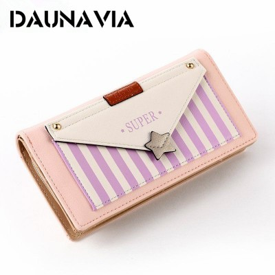 2017 Korean version of the new PU wallet purse bag lady style stripes cover Star Long Wallet