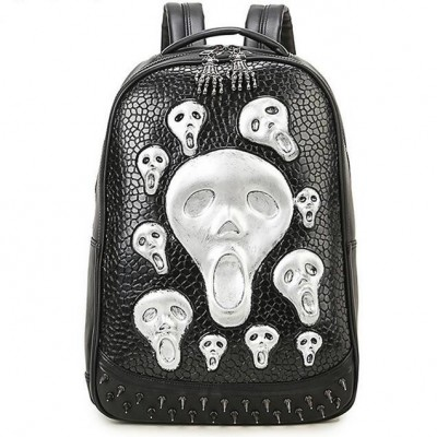 33*12*47CM Mochila Men  Women Hot Genuine Leather Slivery 3D Skull Backpack Fashion Vintage School Bag Large Capacity backpack