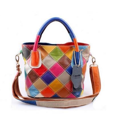 New 2017 100% Genuine Leather Patchwork Bag Cowhide Bucket Bag Women Shoulder Bag Colorful Handbags K580