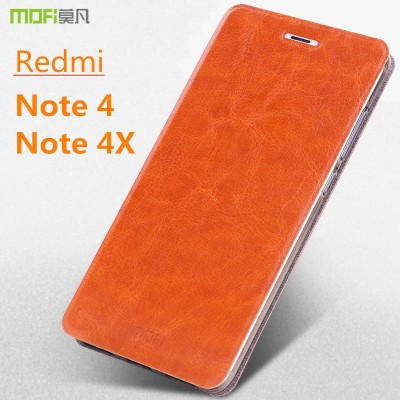 Xiaomi redmi note 4X case redmi note 4 case MOFi original xiaomi redmi note 4 pro flip case PU leather note 4X cover capa  5.5""