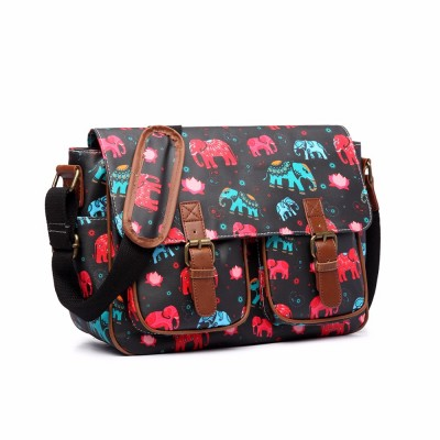 Miss Lulu Women Men Elephant  Matte Oilcloth Waterproof Large A4 Book School College Cross Body Black Satchel Messenger Bag