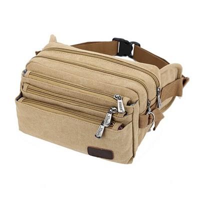 Canvas Waist Bag Functional Men Women Waist Pack Fanny Pack Money Phone Belt Bag Coin Purse Portable Travel Belt Wallets
