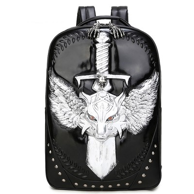 New Hot Sale Vintage Men Backpack Pu Leather Bagpack Student 3d Printing Wolf Sword Skull Travel Bag Shoulders Bag Rucksack