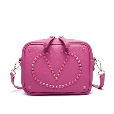 Fashion Rivet 2017 Valentine style Genuine Leather women Messenger Bag pink blue red Lovely Box crossbody bag A2140