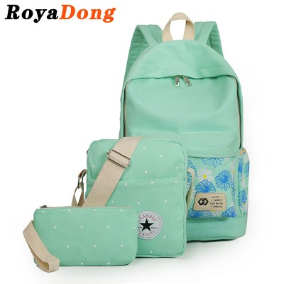 RoyaDong Flowers Printing Women Backpack Set School Bags For Teenage Girls Canvas Printing Candy Color 2017 Bag Set For 3 Pieces