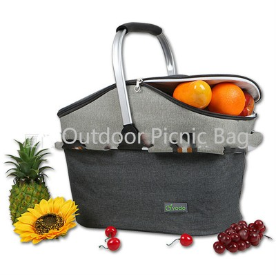 2017 New Oxford Cloth 22L Picnic Bag Aluminum Frame Portable Picnic Basket Wild Cold Insulation Camping Baskets WB-IKB001