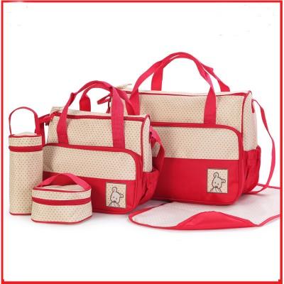 5 pies suit Mummy Bag Bottle Storage Multifunctional Waterproof Separate Bag Nappy Maternity Handbag Baby Tote Diaper Organizer