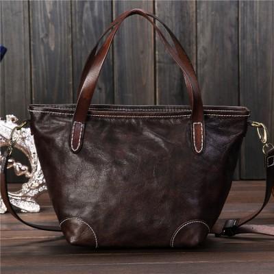 2017 new women oil wax genuine leather fashion bag retro Hobos bag shell bag hand diagonal package crossbody Shoulder Tote bag