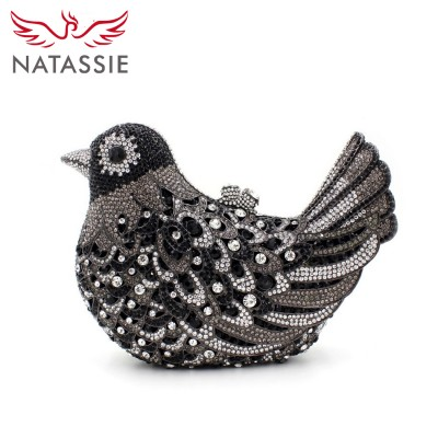 NATASSIE Women Blue Clutch Bags Ladies Bird Shape Purses Female Wedding Diamonds Party Bag