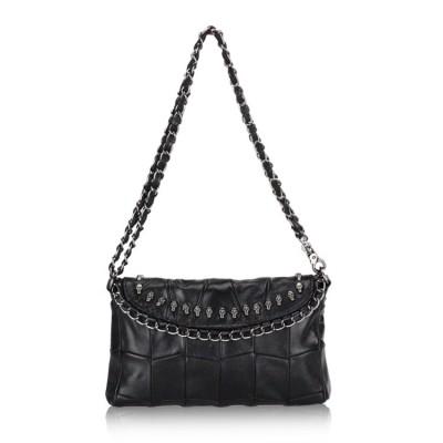 HOT Women Genuine leather (TOP layer) real Sheepskin handbag Soft Black Retro chains shoulder crossbody Messenger bag Fashion