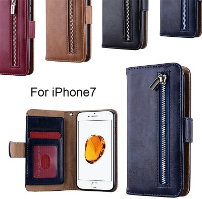GrandEver New Wallet Zipper Leather Wristlet Case for iPhone 7 7 Plus 5 5s SE Case Cash Pouch Card Slots Holder Protective Cover