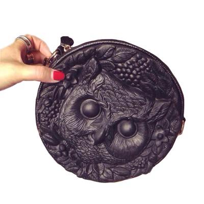 3 D Relievo Owl Inclined Shoulder Bag Fashion Women Leather PU Soft Handbag Cartoon Bag Owl Women Messenger Bag