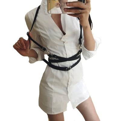 New Sexy Women Men Leather Suspender Belt Black Brown Garter Belt and Corset Slim Body Bondage Cage Sculpting Punk Harness Waist Straps Suspenders Belt for Women Garter Belt Outfit Cheap
