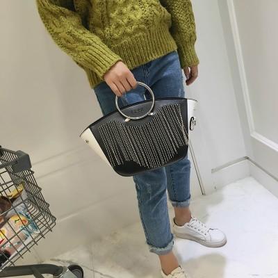 New Fashion Metal Ring Hand Bag Women Split Leather Round Metal Handle Handbag Simple Vintage Shoulder Bag Lady Crossbody Bag