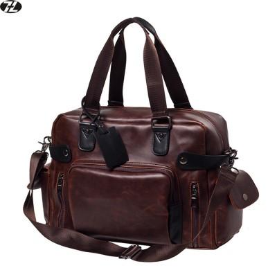 carzy horse leather men travel bag high quality duffel bag vintage large men messenger bags casual men crossbody shoulder bag