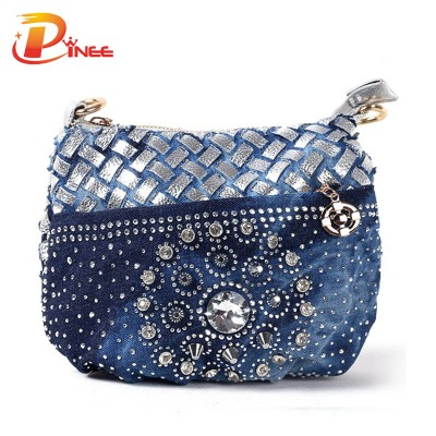 Rhinestone Handbags Designer Denim Handbags 2017  fashion jean coin purse small bag  ladies vintage evening wallets women messenger bag