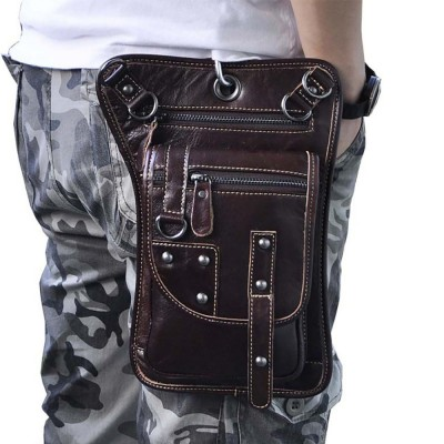 Oil Wax Genuine Leather Vintage Leg Drop Bags Men Motorcycle Rider Punk Rock Hook Fanny Waist Belt Pack Shoulder Messenger Bag