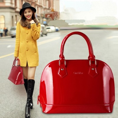 New arrival Fashion brand design star style candy good quality patent leather women bagPU leather handbag WLHB970