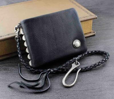 Men's Studded Biker Rocker Genuine Leather Wallet w Chain Black