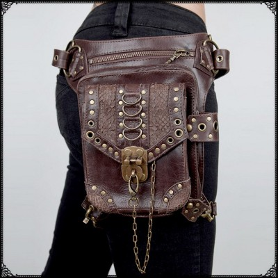 2017 New Top Quality PU Leather Womens Waist Brand Ride Leg Drop Bag Punk Rock Motorcycle Skull Messenger Shoulder Pack