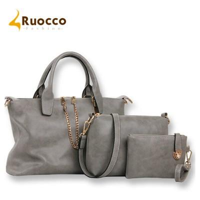 New 2017 3PCS Set bags handbags women famous brands 2 Zipper Handbag Messenger Bag PU Leather Purse Bags for Female and women