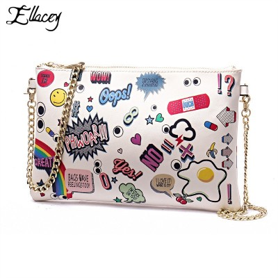 Ellacey Women Cartoon Printed Flap Clutch Bag With Letters Zip Top Envelope Evening Clutch Bags New Wristlets Handbag With Chain