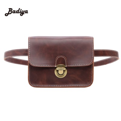 Leather Fanny Pack Ladies Casual Waist Bags PU Leather Soft Flap Bag For Woman Thread Black Money Wallet Phone Bag Vintage Lock Fanny