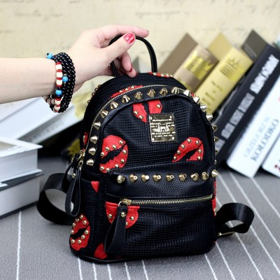 Gothic Backpacks Women Gothic Black and Red Sexy Lip Rivet Punk Rock Leather Backpack Fashion School Girl Backpack