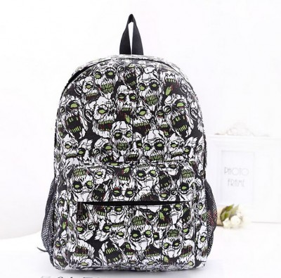 Gothic Backpacks School Girl Skull Print Canvas Gothic Backpack College Style Fashion Punk Bag