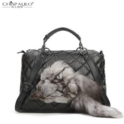 SHISPAULO-2017 new Lingge Spiraea rivet head plush fox handbag shoulder bag diagonal fashion handbags
