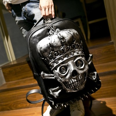 CLASAGA new 3D skull head shoulder bag personalized creative power flow Backpack