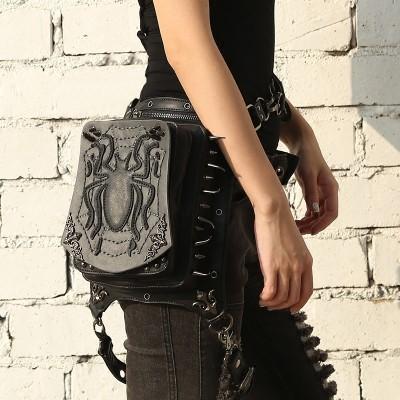 SteelMaster Steampunk Messenger Bag Black Spider Waist Belt Bag Women Men Gothic Steampunk Style Fashion Fanny Pack Shoulder Leg Bag Holster Bag