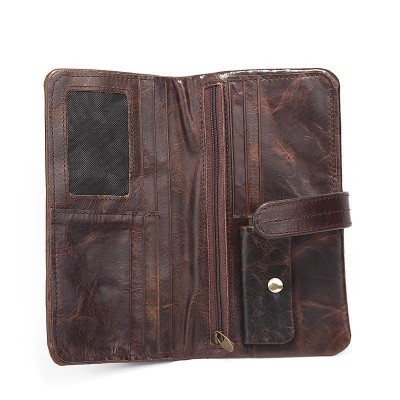 Luxury Vintage Designer High Quality 100% Genuine Cowhide Soft Leather Men Long Clutch Retro Wallets With Coin Pocket Male