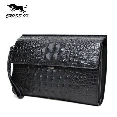 CROSS OX 2017 Summer New Arrival Genuine Leather Men's Clutch Wallets For Men Wristlet Casual Bags For Men iPad Bag WL099M