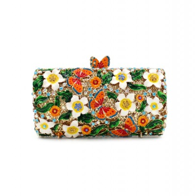 New Women Crystal day Clutch Handbag Evening Bag Flowers and Butterflies Brides Wedding Party Clutch Purse Diamonds Shoulder Bag