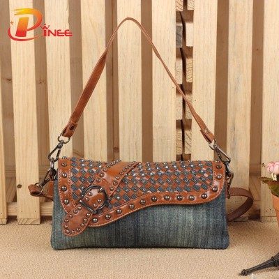 Vintage Denim Shoulder Handbags 2017 Brand Women Bag Fashion Denim Handbags Women Shoulder Bags Design Female Messenger Bags Small Bag