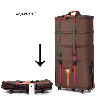Large capacity Oxford cloth Consignment by Air travel bagfolding suitcaseSuper great checkbox baggagebrown and black suitcase