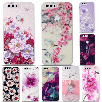 Huawei Honor 8 TPU Case Cover 3D Relief Pattern Back Case for Huawei Honor 8 Phone Cases Soft Silicon Cover Bag Honor 8