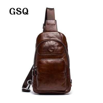 GSQ 2017 Hot Genuine Leather Men Shoulder Bag Fashion Trending Oil Wax Leather Mens Crossbody Bag Coffee Chest Pack Men Bags
