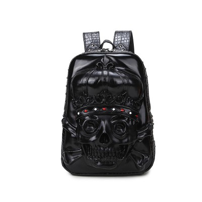 LiYongYi Cool Punk Rock Fashion 3D Skull Fashion Students Personality Rivet Pu Leather Computer Laptop Backpack Bag