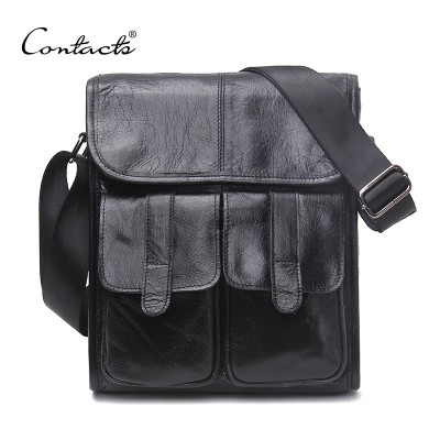 CONTACT'S Brand Design Genuine Oil Wax Leather Men Bags For Fashion Handbags Shoulder Vintage Retro Men Messenger Bags Briefcase