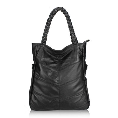 New brief fashionable casual black shoulder bag Tote women big bag real sheep skin bolsos women soft leather Messenger handbag