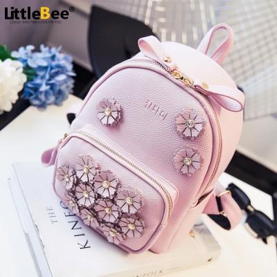 new summer flower mini bag backpack bag lady diamond Korean female college wind small backpack