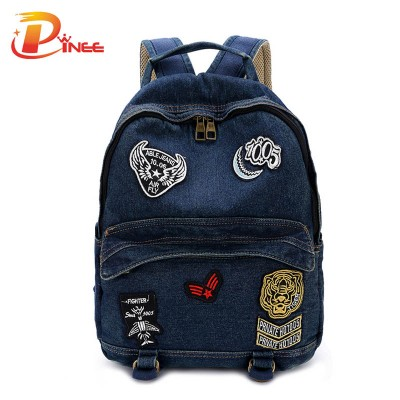 American apparel denim backpack Denim Women's Backpack School Vintage Backpack for Girls black blue denim backpack