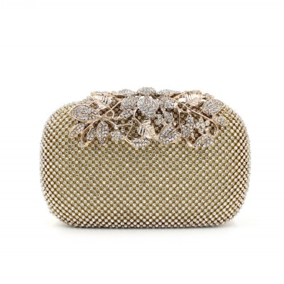 European Style Rhinestone Crystal Wedding Clutch for Women Handbags Flower Crystal Evening Clutches for Bridesmaids Cheap Online