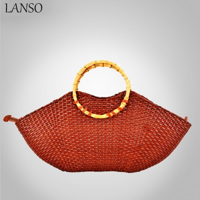 Sexy Bag Hot Sexy Lips Top-Handle Bag Popular Women Weave Bags Big Capacity National Summer Holiday Travel Handbag
