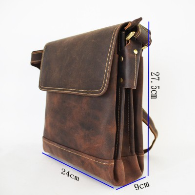 Men's Crazy horse leather shoulder bags Brown Durable Cow leather messenger bag Vintage casual bag iPad cowhide satchel boys